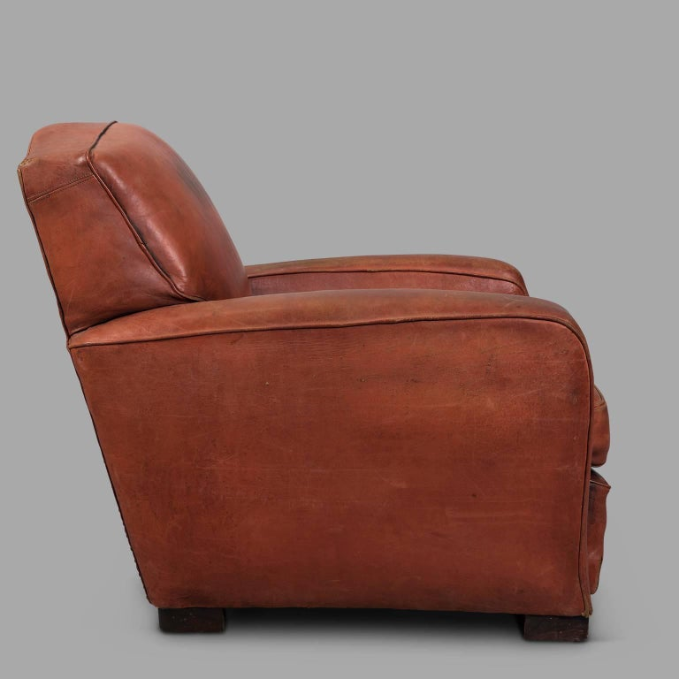 Mid-20th Century Red Leather Club Armchair, circa 1940 For Sale