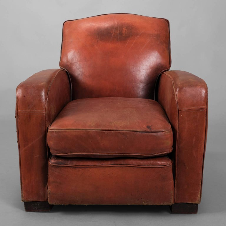 Red Leather Club Armchair, circa 1940 For Sale at 1stdibs