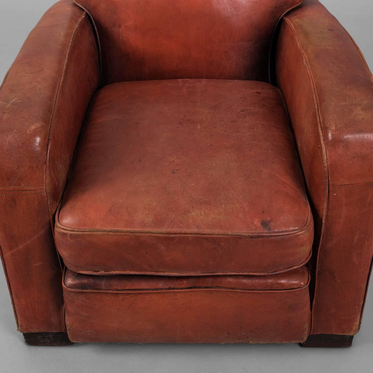 Red Leather Club Armchair, circa 1940 For Sale 2