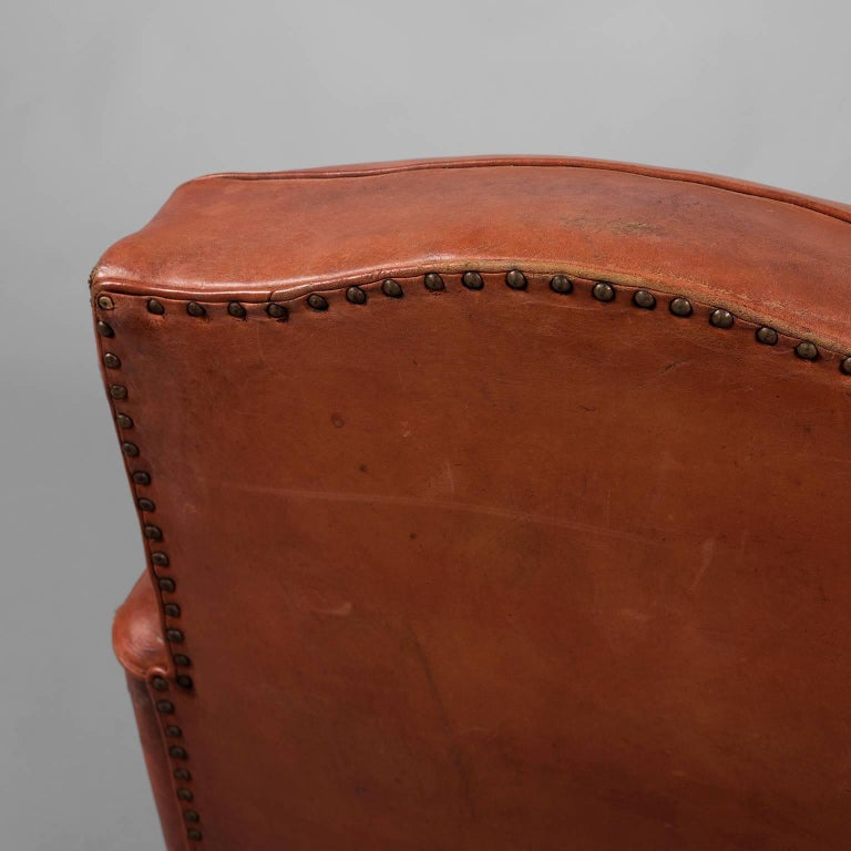 Red Leather Club Armchair, circa 1940 For Sale 4