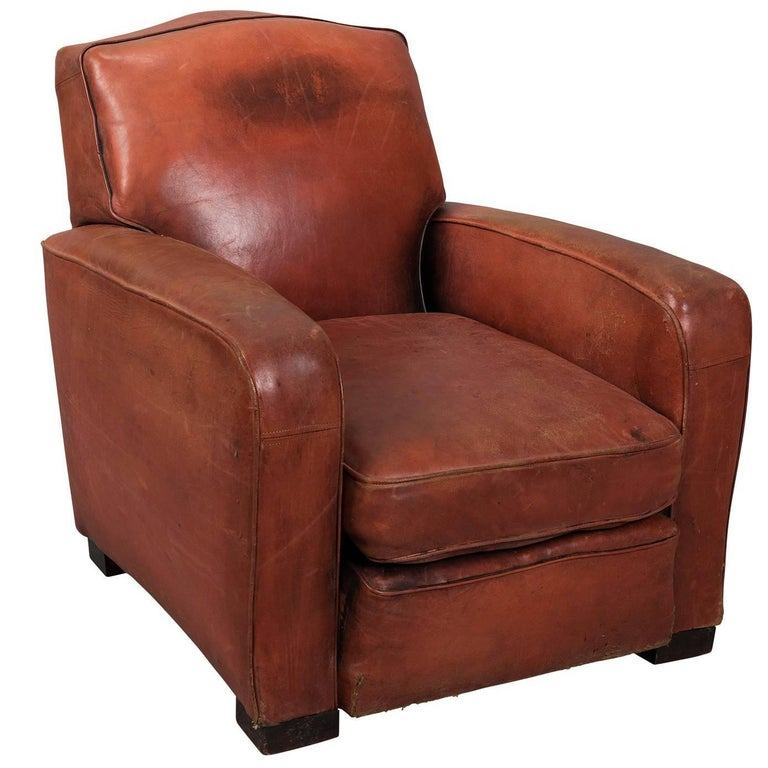 Red Leather Club Armchair, circa 1940 For Sale