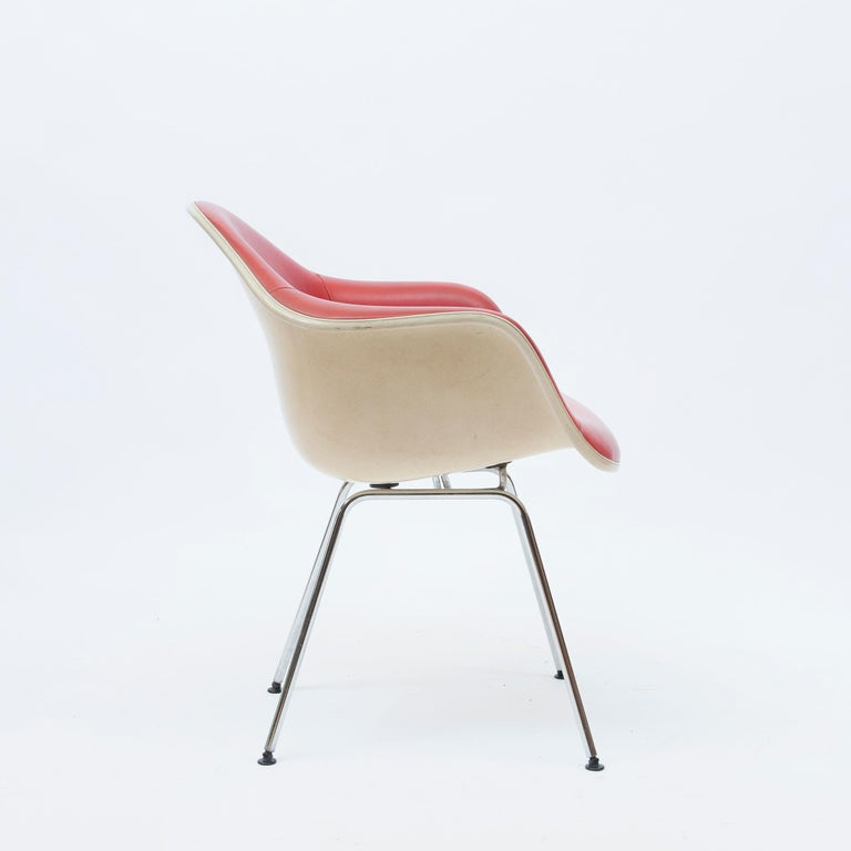 Mid-Century Modern Red Leather 'Dax' Armchair by Charles & Ray Eames, 1960s For Sale