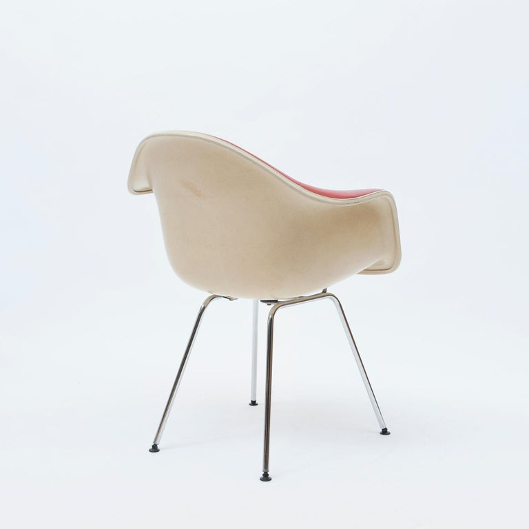 North American Red Leather 'Dax' Armchair by Charles & Ray Eames, 1960s For Sale