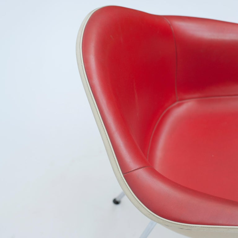 Steel Red Leather 'Dax' Armchair by Charles & Ray Eames, 1960s For Sale