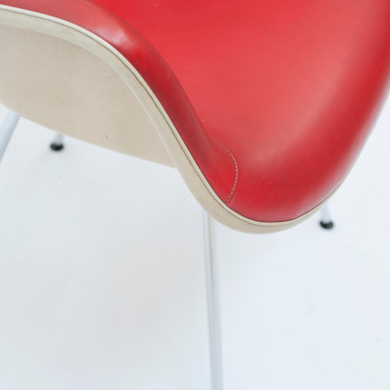 Red Leather 'Dax' Armchair by Charles & Ray Eames, 1960s For Sale 1