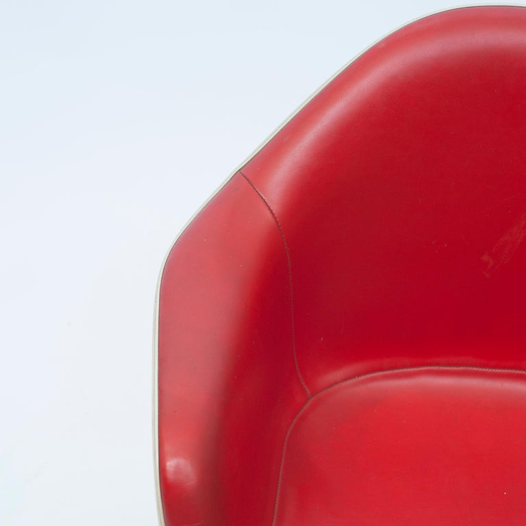 Red Leather 'Dax' Armchair by Charles & Ray Eames, 1960s For Sale 2