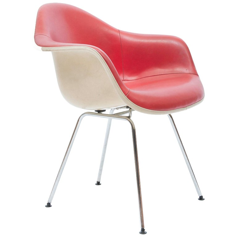 Red Leather 'Dax' Armchair by Charles & Ray Eames, 1960s For Sale