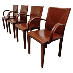 Red Leather Dining Chairs by Arper Italy, 1980s