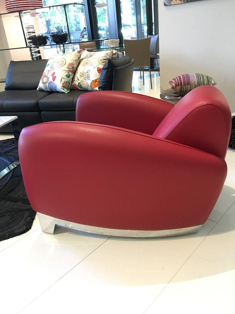 Modern Red Leather DS-57 Bugatti Lounge Chair by De Sede For Sale