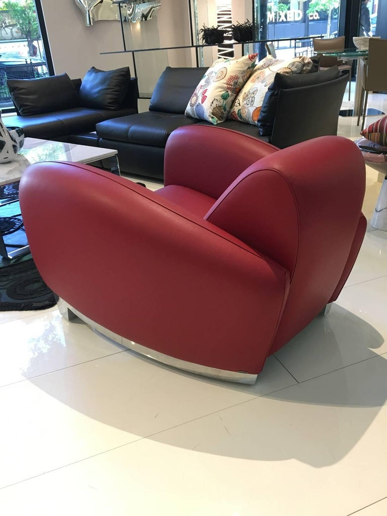 Swiss Red Leather DS-57 Bugatti Lounge Chair by De Sede For Sale