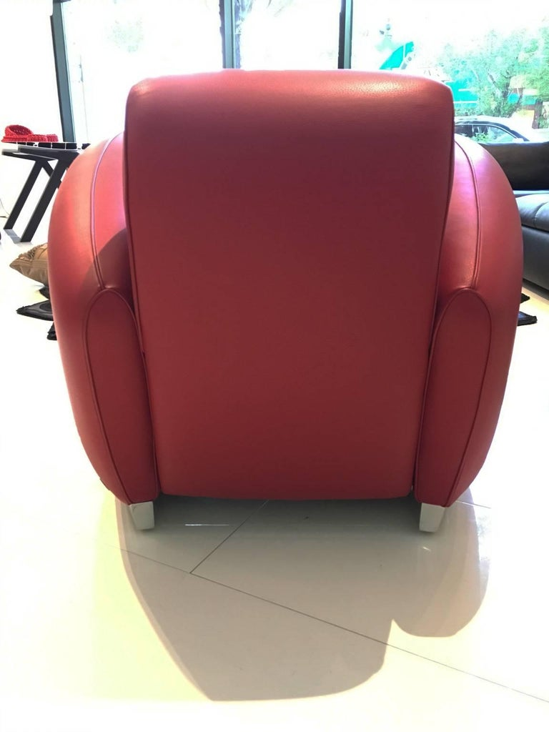 Hand-Crafted Red Leather DS-57 Bugatti Lounge Chair by De Sede For Sale