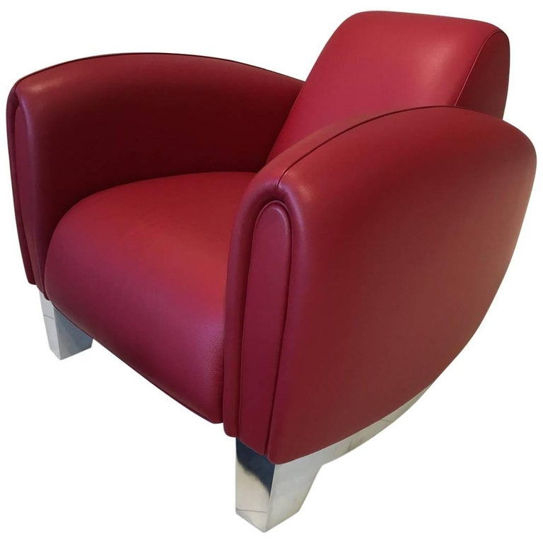 Red Leather DS-57 Bugatti Lounge Chair by De Sede For Sale