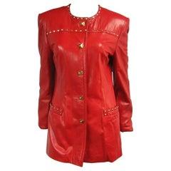 Red Leather Escada Gold Studded Blazer Jacket 1990s
