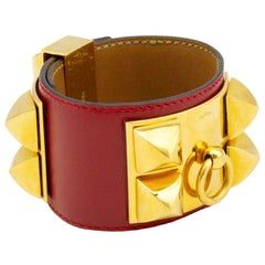 Red Leather Hermes Collier de Chien Bracelet Cuff