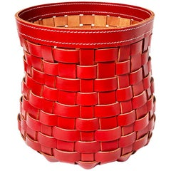 """Red Leather """"Intrecci"""" Woven Basket, Italy"""