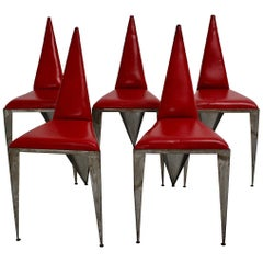 Red Leather Iron Vintage Geometric Dining Chairs or Chairs Modern 1960s Austria