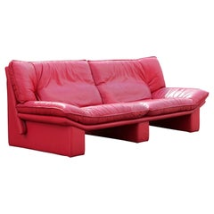 Red Leather Italian Sofa by Nicoletti Salotti
