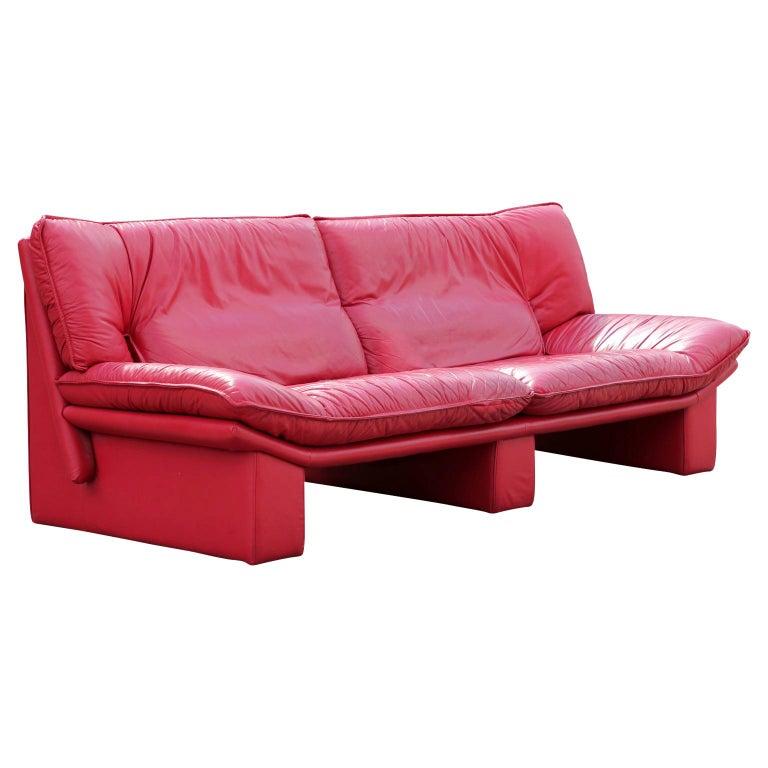 Red Leather Italian Sofa by Nicoletti Salotti