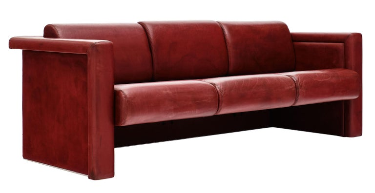 Red Leather Knoll Sofa