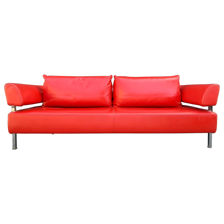 Red Leather Sofa by Nicoletti Italia