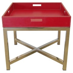Red Leather and Stainless Steel Tray Table, Italy, 1980s