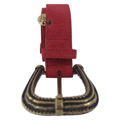Red leather suede belt NWOT