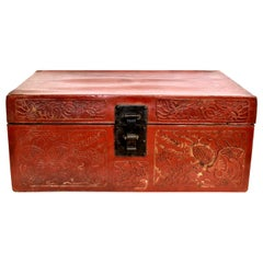Red Leather Trunk Antique Chinese Suitcase