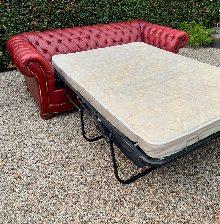 20th Century Red Leather Tufted Chesterfield Sleeper Sofa