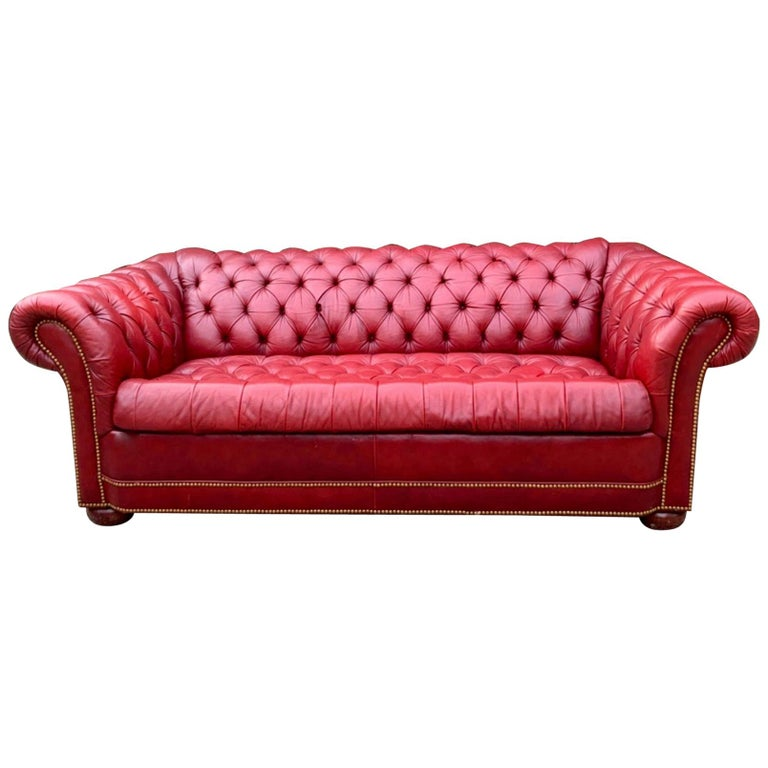 Red Leather Tufted Chesterfield Sleeper Sofa