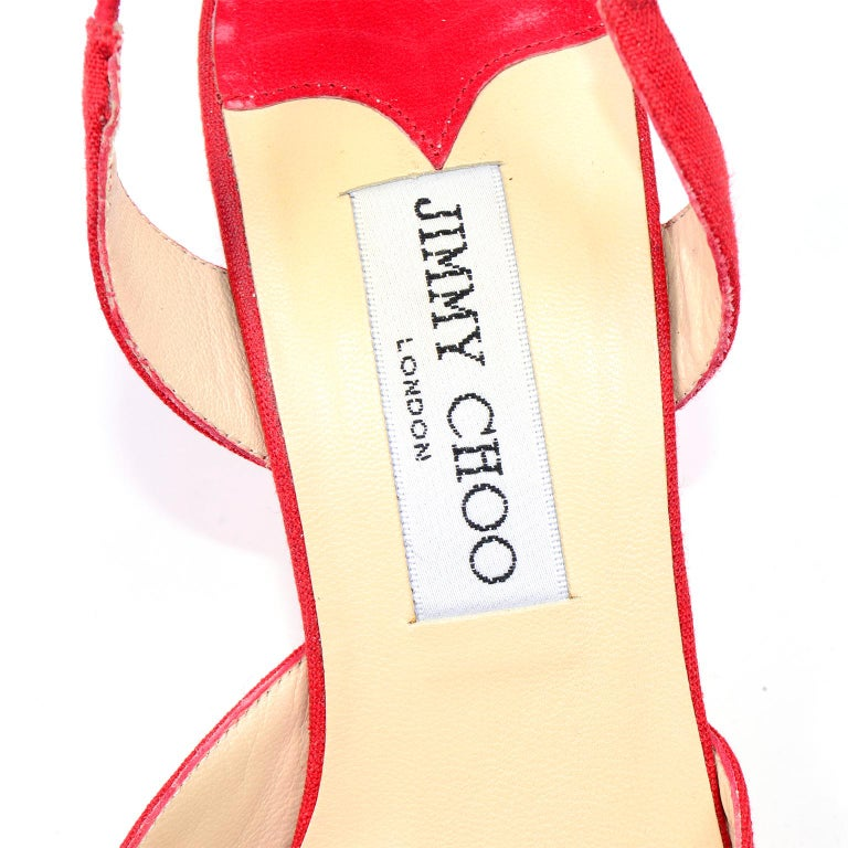 Red Linen Jimmy Choo Slingback Heel Shoes With Daisy Flowers 6