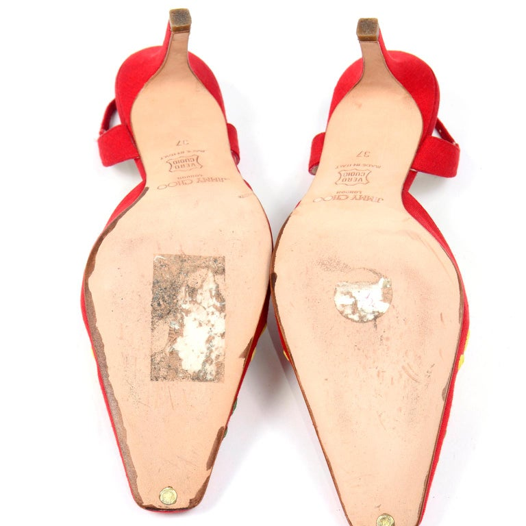 Red Linen Jimmy Choo Slingback Heel Shoes With Daisy Flowers 7