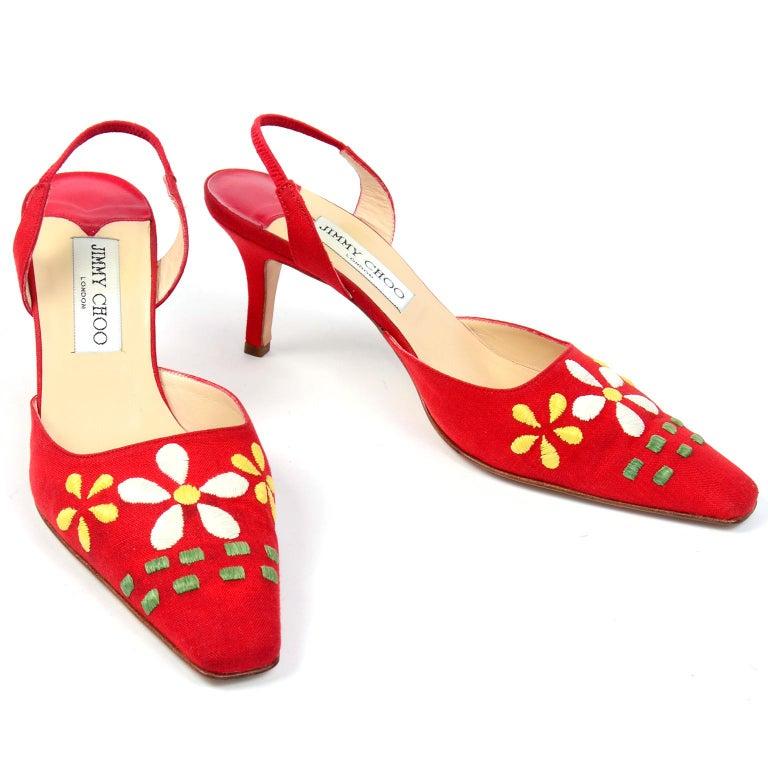 Women's Red Linen Jimmy Choo Slingback Heel Shoes With Daisy Flowers
