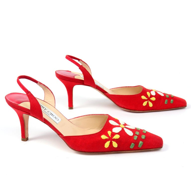 Red Linen Jimmy Choo Slingback Heel Shoes With Daisy Flowers 1