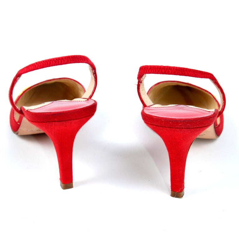 Red Linen Jimmy Choo Slingback Heel Shoes With Daisy Flowers 2