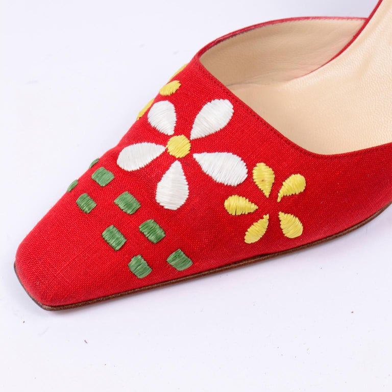 Red Linen Jimmy Choo Slingback Heel Shoes With Daisy Flowers 3