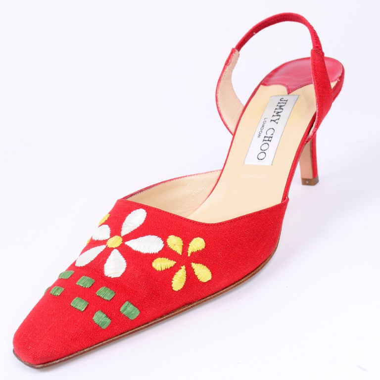 Red Linen Jimmy Choo Slingback Heel Shoes With Daisy Flowers 5