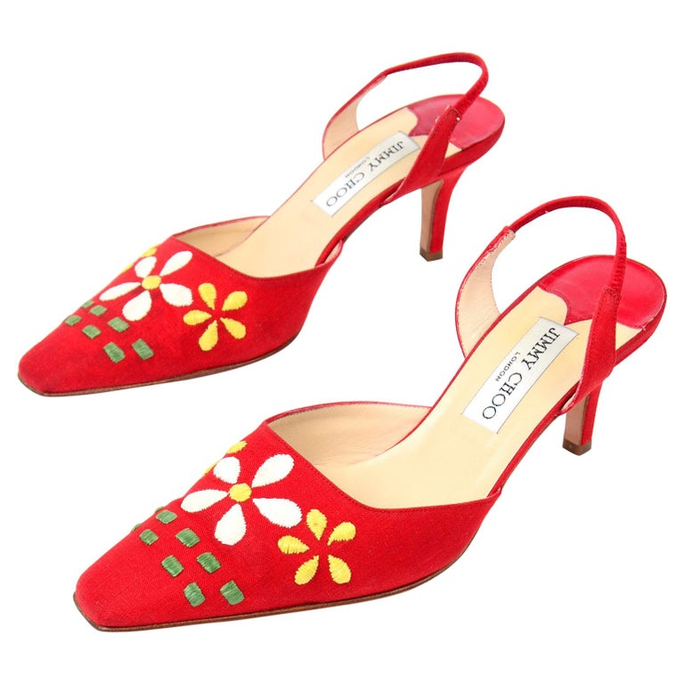 Red Linen Jimmy Choo Slingback Heel Shoes With Daisy Flowers