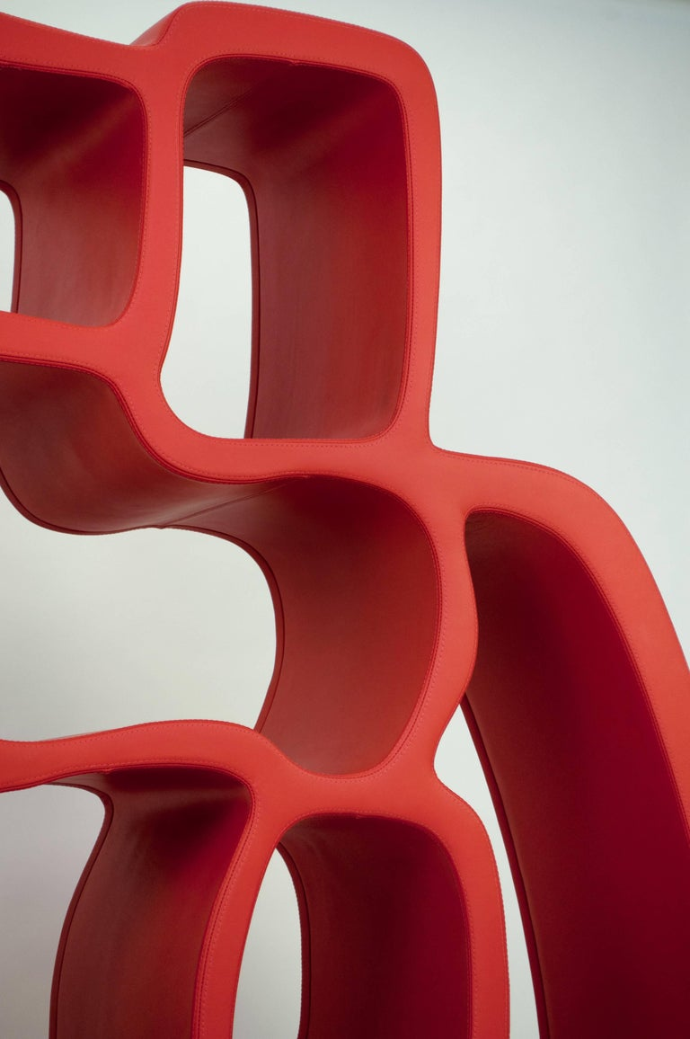 Organic Modern 'Red Lobster' Leather Library, Werner Neumann For Sale