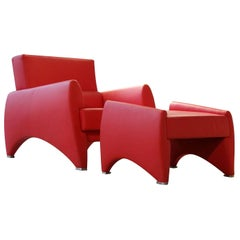 Red Loft Armchair and Footrest