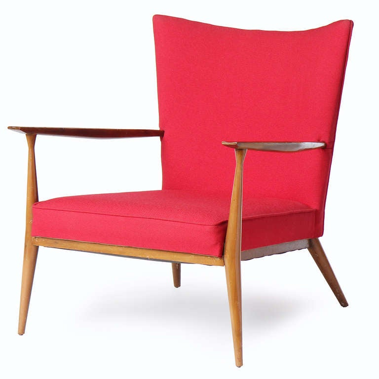 Mid-Century Modern Red Lounge Chair by Paul McCobb For Sale
