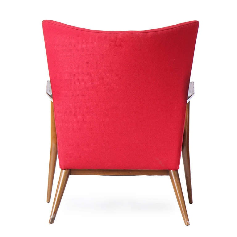 Red Lounge Chair by Paul McCobb In Good Condition For Sale In Sagaponack, NY