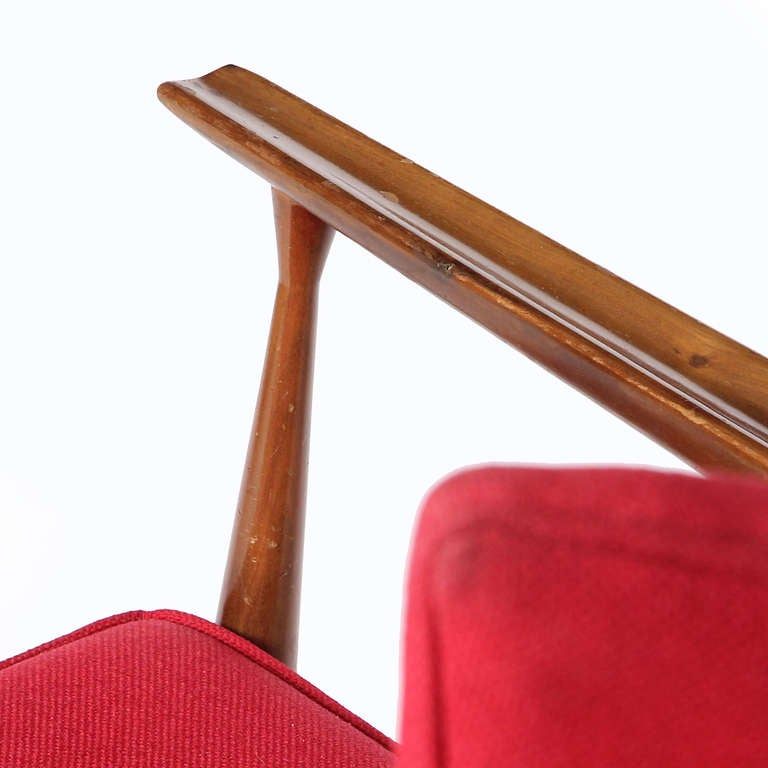 Upholstery Red Lounge Chair by Paul McCobb For Sale