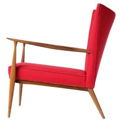 Red Lounge Chair by Paul McCobb