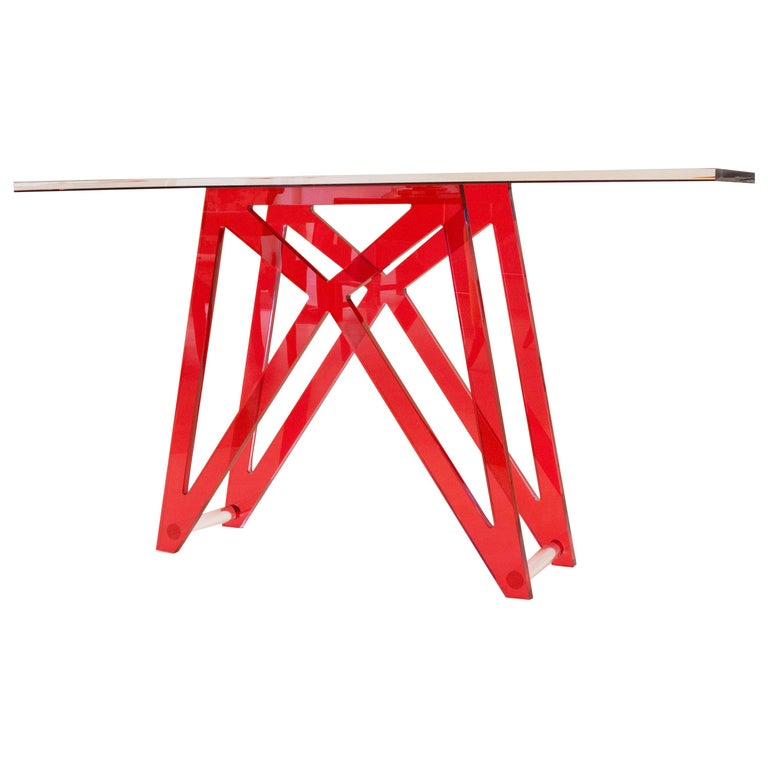Red Lucite Console Table For Sale