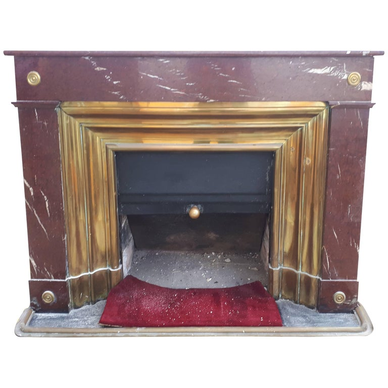 Red Marble French Fireplace, circa 1880 For Sale