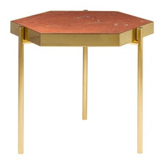 Red Marble Hexagonal Titanium Gold Side Table