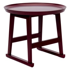 Red Matte Shellac Round Side Table, B&B Italia