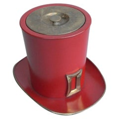 """Red Metal and Brass """"Hat"""" Ice Bucket"""