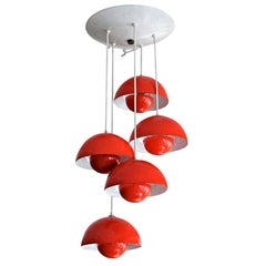 Red Metal Big Flower Pot Chandelier by Verner Panton, 1970s