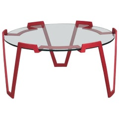 Red Metal Coffee Table in the Style of Jean Royere